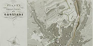 Particolare di una carta della città di Cagliari della metà del XIX secolo