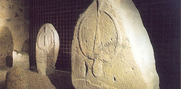 Istàtuas-perdas fitas in su Museu archeològicu de Làconi