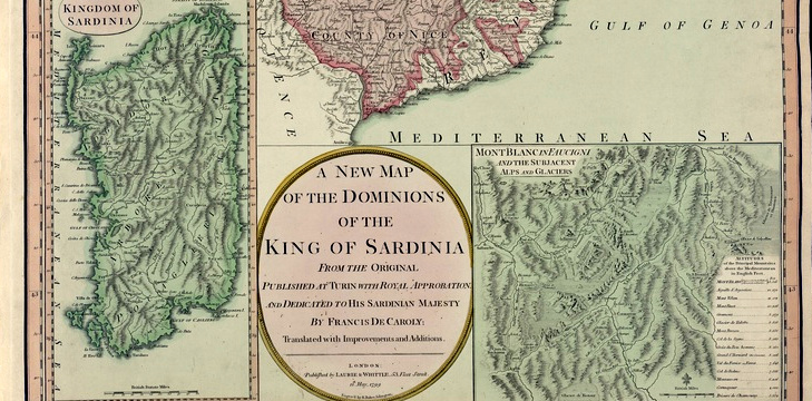 A new map of the dominions of the king of Sardinia - particolare, autore: Caroly Francis, da Sardegna Digital Library